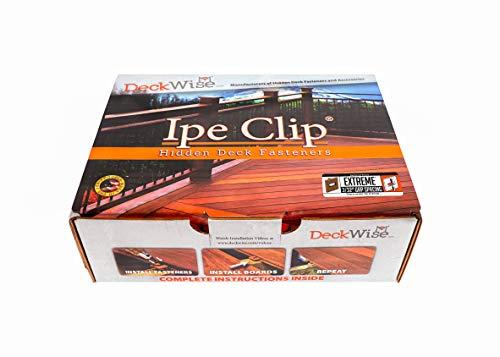 DeckWise Ipe Clip EXTREME Hidden Deck Fasteners, 3/32 Spacing, Brown Clips including Stainless Steel Black #8x2 Trim-Head Screws for 100 Sq. Ft. of AD Hardwood or Thermal Wood Decks (175 ct. Kit)