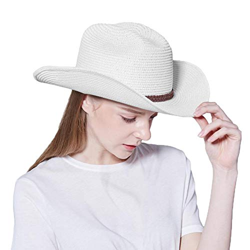 Straw Cowboy Hat,Men's & Women's Sun Beach Hats Western Style with Adjustable Chin Strap (L(7 1/4-7 3/8), A3-White) ()