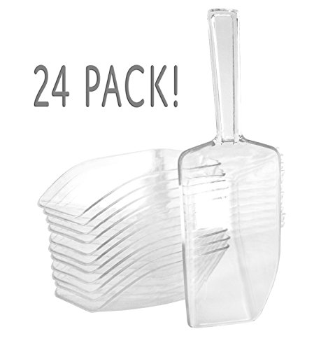 "6.75"" Medium Clear Acrylic Plastic Scoops (24-Pack); Use for Candy Bar, Snacks, Dry Goods, Popcorn, Buffet Party Serving & More"