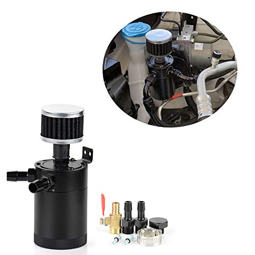 Tasan Racing Aluminum Compact Baffled Oil Catch Can 2 Port Plug + Fittings + Filter (Catch Can Filter)