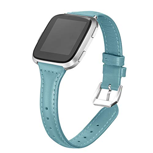 bayite Bands Compatible with Fitbit Versa, Teal, Replacement Accessories Slim Genuine Leather Band Strap Women Men, 5.3