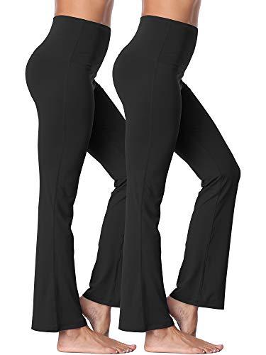 - Neleus Women's 2 Pack Tummy Control High Waist Bootleg Yoga Pants Inner Pocket,106,Black,L