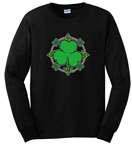 Plus Size St Patricks Day Gifts St Patricks Day Gift Celtic Knots Shamrock Long Sleeve T-Shirt 3XL Black ()