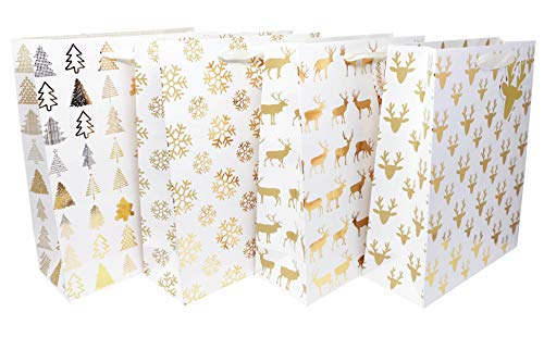 Holiday Gift Bags Large Size- 4 Pack Premium Bulk Variety Set with Matching Note Tags- 4 Beautiful White and Gold Winter Designs for Christmas Presents, Wrapping Stocking Stuffers -