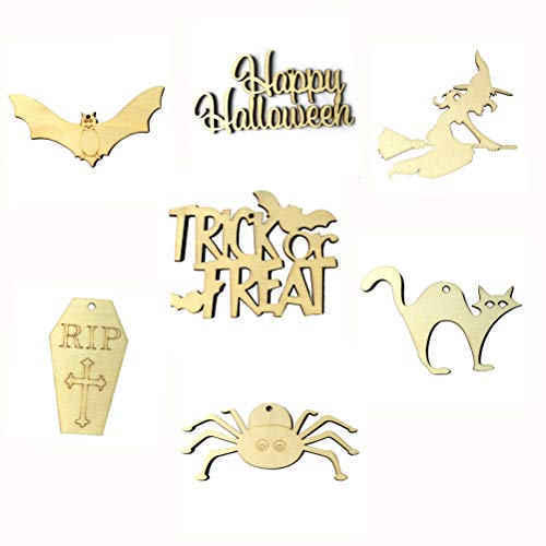 BESTOYARD 70pcs Wooden Tags Happy Halloween Trick or