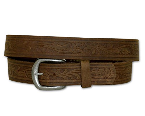 Tooled Western Detailed Genuine Leather Work Belt - MADE IN USA (Tan 58) Detailed Leather Belt