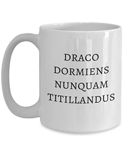 Never Tickle a Sleeping Dragon Latin Saying Ceramic Coffee Mug, 15 oz. White