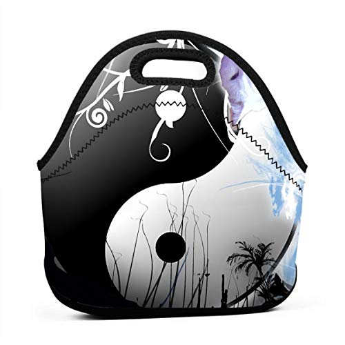 Janeither Artistic Yin Yang Cat Portable Reusable Lunch Bag Waterproof Picnic Tote Insulated Cooler Zipper - Baby Nba Dvd
