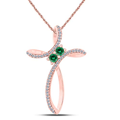 Emerald Round Cross - Gems and Jewels 14k Rose Gold Plated Alloy Prong 0.60 ct Created Green Emerald Cluster Infinity Cross Necklace Pendant