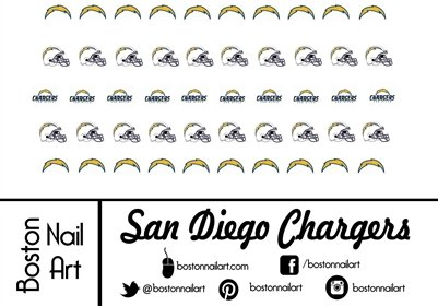 Nfl San Diego Chargers Waterslide Nail Decals 50pc