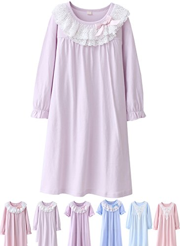 Abalaco Girls Kids Princess Lace Bowknot Nightgown Long Sleeve Cotton Sleepwear Dress Pretty Homewear Dress (6-7 Years, Purple) by Abalaco
