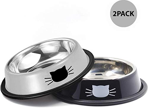 Yasma Cat Bowls Stainless Steel Pet Cat Bowl Kitten Rabbit Cat Dish Bowl with Cute Cats Painted cat Food Dish Easy to…