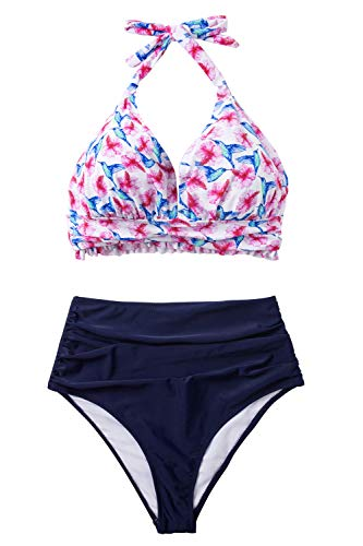 CUPSHE Women's Hibiscus Bird Print Halter Bikini Set High Waisted Swimsuit, M