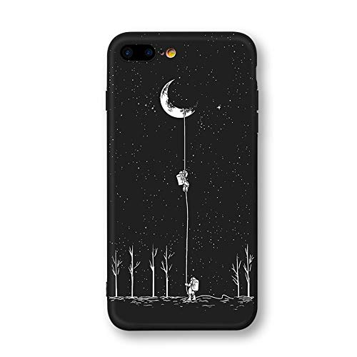 Corcrest - Newest Space Moon Astronaut Phone Cases for iPhone 8 X Case Planet Star Frosted Soft Back Cover [iPhone8 Moon Lading]