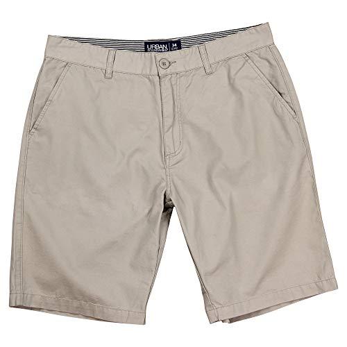 Urban Boundaries Men's Flat Front Chino Shorts (Light Khaki, Size 36)