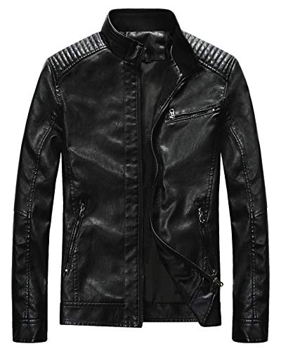acket Men Black Motocycle Lightweight Classic ()