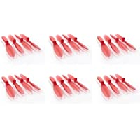 6 x Quantity of DBPower RC Quadcopter Drone Transparent Clear Red Propeller Blades Props Rotor Set 55mm Factory Units