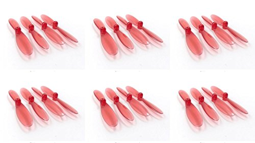 HobbyFlip Transparent Clear Red Propeller Blades Props Rotor Set 55mm Compatible with Double Horse 9128 6 Pack ()