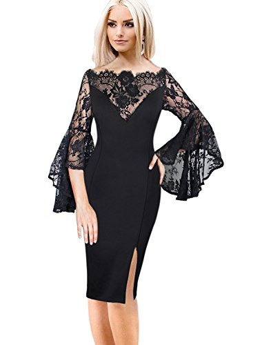 VfEmage Womens Flare Sleeve Sexy Off Shoulder Cocktail Party Bodycon Dress 008 Blk XXL