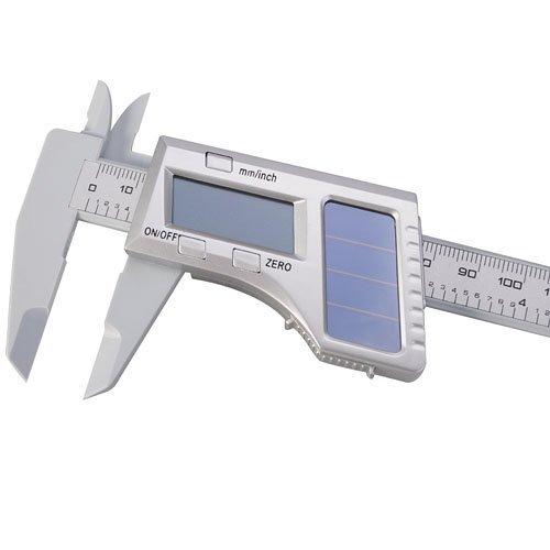 BUYEONLINE 6'' 150Mm Carbon Fiber Composite Solar Digital Caliper Multi-Functional Measuring Tool Gadgets - Gray