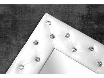 miroir capitonn strass simili cuir blanc 80x60 cm couleur blanc taille 80x60 cm - Miroir Mural Blanc Simili Cuir Strass