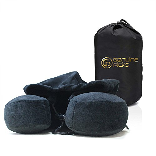 Luxury Quality Memory Foam Neck Travel Pillow with Hoodie by Genuine Picks. Lovely Carrying Bag. Premium Soft Velvet Fabric. Comfortable U Shaped Neck Pillow. Gift Ideas for Travelers (Black) (Best Gifts For Cruise Travelers)