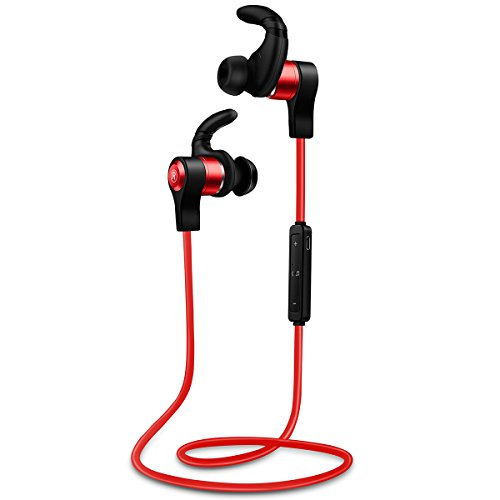 XIQEER Bluetooth Headphones, Best Wireless Sports Earphones Mic Waterproof HD Stereo Sweatproof Earbuds for Gym Running Workout 3 Hour Battery Noise Cancelling Headsets (Red)