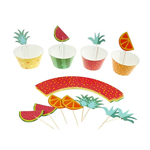 Cake Decorating Supplies - 24pcs Multicolor Fruit Platter Series Cake Pers Decor Wedding Summer Pool Kid Birthday Party - Unicorn Esible Sprinkles Computers Dust Smoother Mouse Pieces Buddy Baki