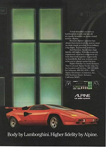 "Magazine Print ad: 1982 Alpine Car Audio Systems with Red Lamborghini Countach,""Body by Lamborghini. Higher Fidelity by Alpine"""