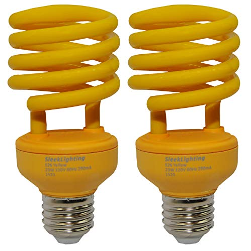 - SleekLighting 23 Watt T2 Yellow Bug Light Spiral CFL Light Bulb, 120V, E26 Medium Base-Energy Saver (Pack of 2)