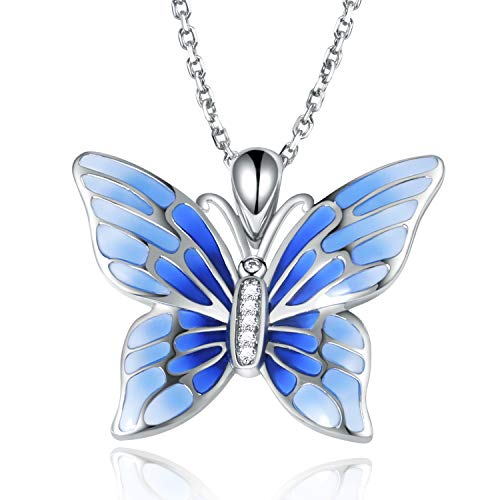 Apotie Sterling 925 Silver Fashion Enamel Blue Butterfly Pendant Necklace Jewelry Gift for Women or Girl
