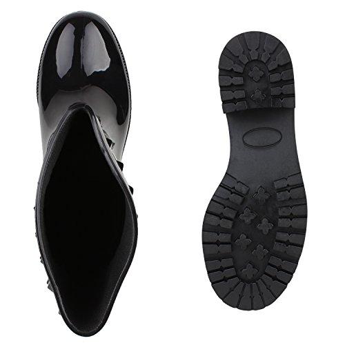 Damen Gummistiefel Nieten Regenschuhe Wasserdicht Metallic Stiefel Boots Blockabsatz Schuhe Profilsohle Flandell Schwarz Schwarz
