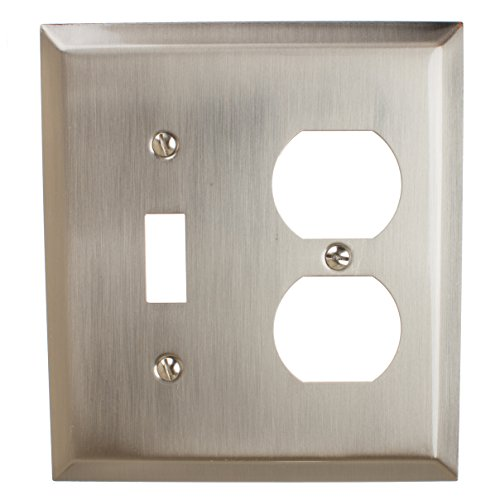 GlideRite Hardware Wall Plate Cover with Toggle Light Switch and Duplex Outlet Combination – Steel 2-Gang Classic Beveled Receptacle for Kitchen or Bathroom (Toggle/Duplex, Brushed Nickel finish) (Receptacle Duplex Toggle)