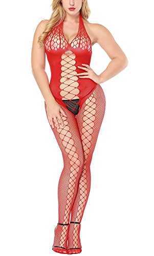 HiSexy Middle Hollow Halter Teddy Fishnet Bodystocking Plus Size Bodysuit Lingerie for Women Red -