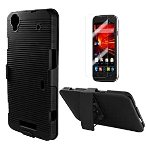 ZTE MAX N9520 BLACK CROSS HYBRID RUBBERIZED RIDGED COVER BELT CLIP HOLSTER CASE + FREE SCREEN PROTECTOR from [ACCESSORY ARENA]