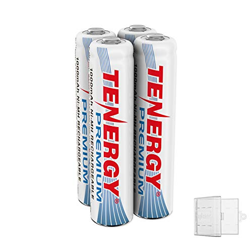 Tenergy Premium Rechargeable AAA Batteries, High Capacity 1000mAh NiMH AAA Batteries, AAA Cell Battery, 4-Pack with 1 AAA Size Battery Holder