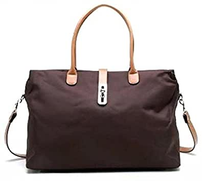 Tosca Brown Nylon Oversized Travel Tote Bag w/ Detachable Shoulder Strap
