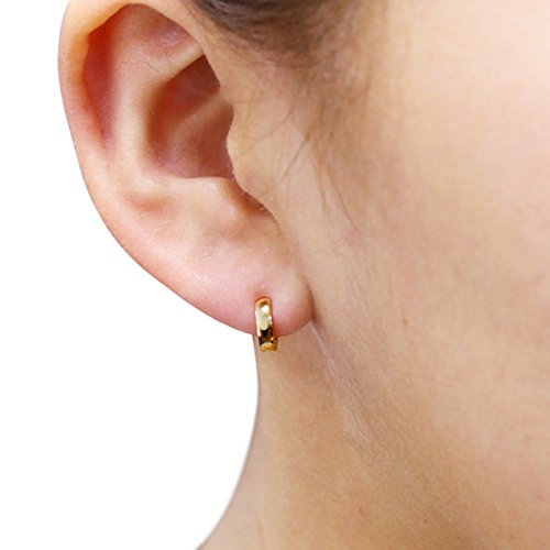 14K Yellow Gold Plain 2 X 6mm Domed Small Huggie Hoop Earrings by Double Accent (Image #3)
