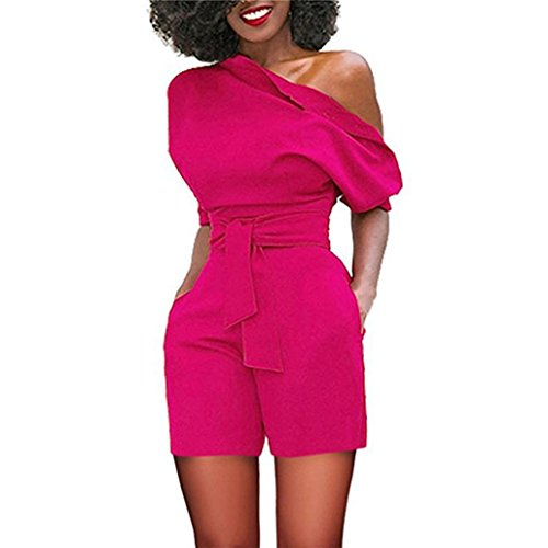 - vermers Women's Short Romper - Sexy Off Shoulder Ruffle Fashion Casual Jumpsuit(L, Hot Pink)