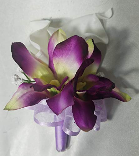 Orchid Corsage - Calla Lily Lilac Orchid Boutonniere Corsage or Boutonniere