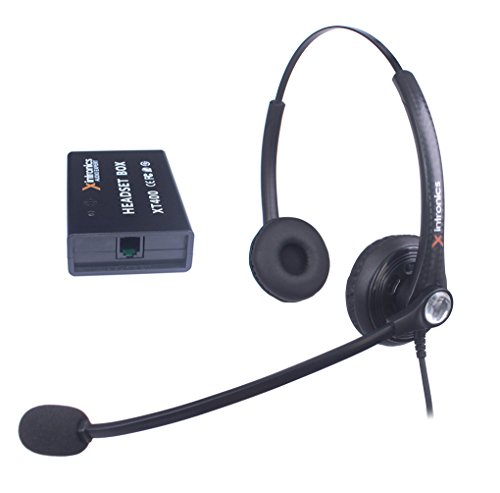 Corded Telephone Headset Mono Universal Compatible with All Landline Desk Phones, Xintronics RJ9 Headsets with Answer Button, Noise Cancelling Mic, Volume Mute Controls(XT402) (Binaural-XT402)