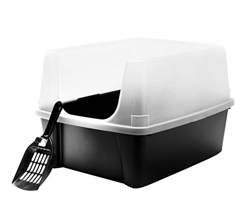 IRIS Open Top Cat Litter Box Kit with Shield and Scoop Black (Alternative To Clay Cat Litter compare prices)