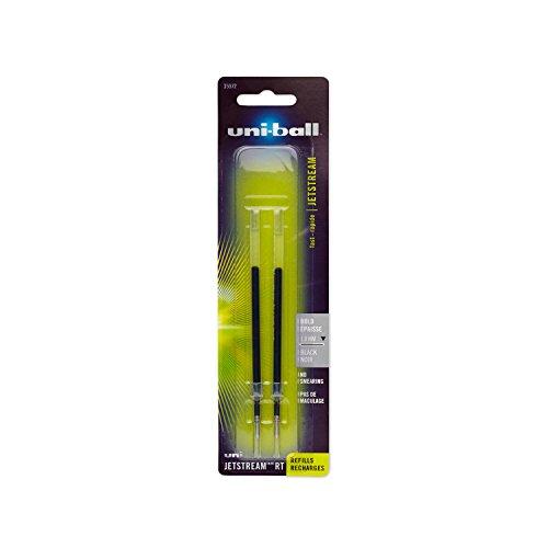 uni-ball Jetstream RT Ballpoint Pen Refills, Bold Point (1.0mm), Black, 2 - Point Refill Bold