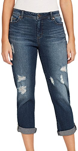 Cropped Boyfriend Jeans - Bandolino Women's Karyn Slim Boyfriend Capri with Roll Cuff, Salem Destruction, 14