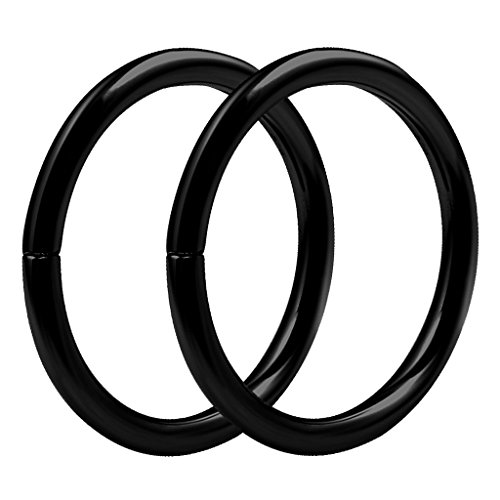 bodyjewellery 2pcs 16g 3/8 Hinged Segment Rings Septum Norstril Seamless Clicker Hoop Cartilage Nose Lip Ear Tragus Helix Black (Black Segment Rings)