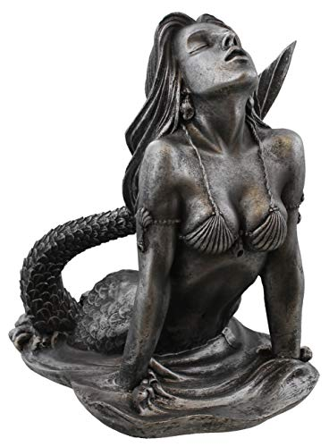 Old River Outdoors Mermaid Rising from The Sea Nautical Statue Art Sculpture - Antique Silver Finish (Small Statues Mermaid)