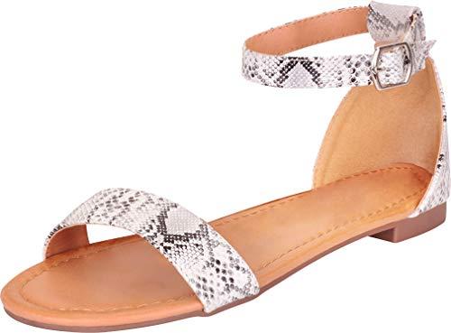 Cambridge Select Women's Classic Open Toe Single Band Ankle Strap Flat Sandal,10 B(M) US,White Snake PU