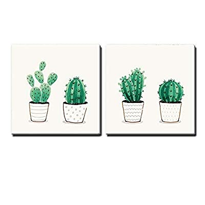 Premium Creation, Delightful Style, 2 Panel Square Green Cactus in Pots x 2 Panels