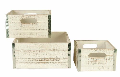 Wald Imports Set of 3 Square Wood Crates with Metal Trim, Distressed White (Distressed Wine Box compare prices)