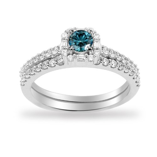 14k White Gold Blue Diamond Center with Diamonds Bridal Ring Set (3/4 cttw I-J Color, I1-I2 Clarity), Size 7